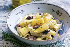 Rigatoni with Artichokes, Garlic, and Olives from Leite's Culinaria