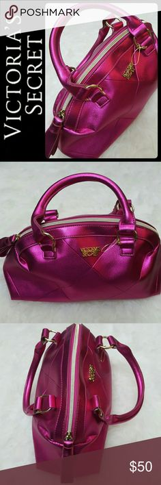 Victoria's Secret Satchel Purse Victoria's Secret Signature Purse in Stunning Hot Pink Satchel! Features Iconic VS Logo Print in Gold Tone Metal! Comes in Faux Patent Metallic Pink Leather Style with Double Handles!   Top Zipper Closure Opens to Fully Lined Interior, Approx Size 12x7 Inches, Excellent Used Condition! Victoria's Secret Bags