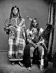 Crow Chief Bear Wolf and wife Stays With Horses 1873