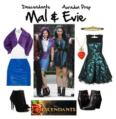 """""""Descendants: Mal & Evie #2"""" by fictional-fandom-freak ❤ liked on Polyvore featuring Disney, GUESS, Isabel Marant, Glamorous, Tabitha Simmons, evie, mal and Descendants"""