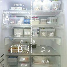 忙しい日々の中で、料理は時間との勝負。冷蔵庫を開けて「あれどこにしまったっけ?」そんなことありませんか。また、あったことすら忘れてしまって、気づいたときにはもう食べられないなんてことも。今回はそんな悩みをいっきに解決できるような冷蔵庫の収納術をご紹介していきます。 Cabinets To Ceiling, Grey Cabinets, Fridge Organization, Organization Hacks, Kitchen Storage, Storage Spaces, House Chores, Japanese Interior Design, Interior Garden
