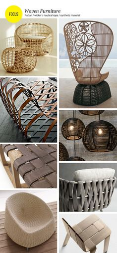 Woven products: furniture in rattan, wicker, nautical rope, synthetic material