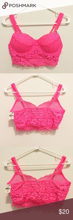 New Victoria's Secret PINK Lace Pink Bralette Victoria's Secret PINK Lace Pink Bralette. Size small no wire, pink lace, light push up. Brand New with tags never worn PINK Victoria's Secret Intimates & Sleepwear Bras
