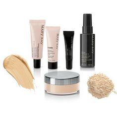 Flawless Face Set. 1.) Mary Kay foundation primer broad spectrum SPF 15*. 2.) Timewise Matte-Wear or Luminous-Wear liquid foundation. 3.) Mary Kay concealer. 4.) Mineral powder foundation 5.) Makeup Finishing Spray by Skindinävia