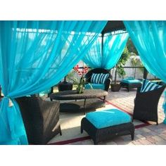 Patio Drapes, could change them for a theme or favorite color for birthday parties.
