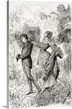 Estella and Pip in Miss Havisham's garden. Illustration for the novel Great Expectations