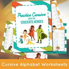 Have you met the Educents Heroes? Have your child practice their cursive with 53 pages of FREE CURSIVE alphabet worksheets! The Educents Heroes are prepared and have included both lowercase and uppercase letters. Free Cursive Worksheets, Handwriting Worksheets, Alphabet Worksheets, Cursive Alphabet, Cursive Handwriting, Penmanship, Improve Your Handwriting, Handwriting Analysis