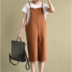 Sandy texture linen cotton cropped overall  #linen #loosepants #linendress #OnePiece #pants #overalls