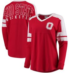 Ohio State Buckeyes Women's Ohio State Cheer Long Sleeve Jersey T-Shirt - Scarlet Ohio State Buckeyes, Ohio State Shirts, Nike Ohio State, Buckeyes Football, Ohio State Football, Football Gear, Football Shirts, Cheer Shirts, Sport Outfits