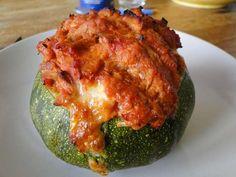 Courgettes rondes farcies au thon tomate mozzarella