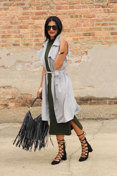 Fall outfit - fringe bag, trench vest, midi sweater dress #LoveZahra