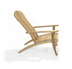 The teak adirondack chair features an ergonomic backrest and accompanying footstool. Teak Outdoor Furniture, Garden Furniture, Furniture Design, Traditional Outdoor Chairs, Teak Adirondack Chairs, Westminster Teak, Chair Bench, Stackable Chairs, Outdoor Settings