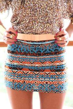 So cute! Love the patterned skirt with the sparkly top.
