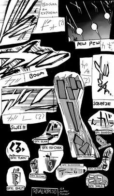 Japanese Manga Sound Effect Reference Sheet Part 1 by Rivalhopeso Anime Drawing Books, Manga Art, Anime Manga, Manga Drawing Tutorials, Art Tutorials, Design Reference, Drawing Reference, Comic Sound Effects, Comic Book Layout