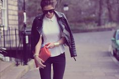 white and black | pop of colour | gold cuffs | spring fashion
