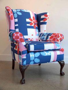 Design: Armchair Quarterback  Materials: Antique wingback chair, custom printed 100% cotton twill.  Designer: Doug Brown and Bren Ahearn - Manmade Workshop