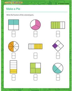 Start introducing kids to fraction with great cognitive fraction worksheets. Browse more fraction problems online on Math Blaster. Free Fraction Worksheets, Free Printable Math Worksheets, Fractions Worksheets, Worksheets For Kids, Free Printables, School Resources, Math Resources, Pie Graph, Writing