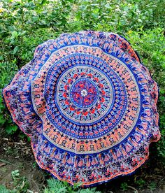 Colorful Elephant Mandala Round Tapestry Beach Towel Yoga Mat, Bohemian Indian Elephant Tapestry Beach Picnic Throw Towel Rug on Vedindia.com #IndianRoundTapestry #MandalaRoundieTapestry #Boho #hippie