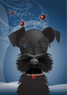 Black Schnauzer Christmas Holiday Cards Set by laurenbrookedesigns, $18.00