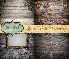 Old Stone Wall backdrops digital scrapbook paper room photo