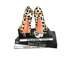 Fashion wall art of Leopard heels and Chanel books by RongrongIllustration on Etsy. Pefect fashion art for your home