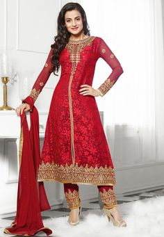 Reinvent your ethnic avatar this festive season with this ravishing Red #Color Brasso Designer #SalwarKameez which is accompanied with a matching dupatta and bottom. The suit features a brilliant floral embroidery on the yoke, sleeves and border.