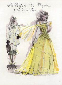 Paquin Perfumes 1945 Christian Berard Vintage advert Perfumes illustrated by Christian Berard   Hprints.com