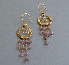 A personal favorite from my Etsy shop https://www.etsy.com/listing/522270127/amethyst-antique-brass-earrigns-purple