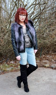 Fashion Fairy Dust: Hip Waders: Over The Knee Boots, Distressed Skinny Jeans And Moto Jacket