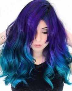 Purple to blue ombre, blue hair colors, turquoise hair ombre, aqua hair, . Turquoise Hair Ombre, Blue Purple Hair, Ombre Hair Color, Cool Hair Color, Teal Orange, Purple Ombre, Color Streaks, Dyed Hair Blue, Violet Hair