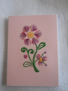 Pink Flower Blank Card by SBStitchingCards on Etsy, $4.00