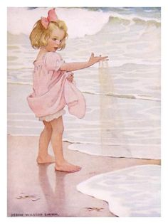 Young Girl in the Ocean Surf Giclee Print by Jessie Willcox-Smith at Art.com