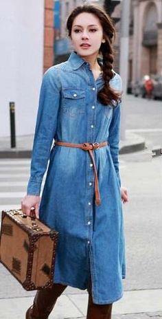 European style 2013 fashion maxi dress women turn down collar  full sleeve mid calf casual denim dress long dress Free shipping-in Dresses from Apparel & Accessories on Aliexpress.com