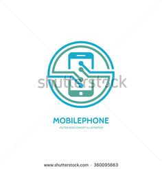 Mobile phone vector logo concept illustration. Smartphone vector logo creative illustration. Mobile technology logo. Cellphone logo. Mobile phone logo design. Vector logo template. Design element.