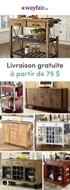 We know that when it comes to the kitchen, space is a key factor. Treat yourself to style, storage and convenience with our multi-purpose kitchen carts. Whether you need extra prep space or storage for appliances, you'll find your perfect cart with our en Diy Kitchen, Kitchen Decor, Kitchen Carts, Kitchen Ideas, Island Kitchen, Kitchen Counters, Kitchen Signs, Kitchen Cabinets, Sofa Loft