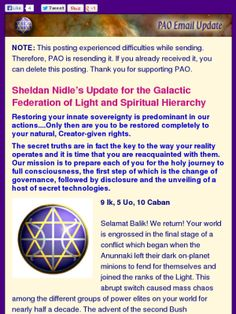 Update by #SheldanNidle 8/20/13..  #Revealing #Sacred Truths..  #galactic #ufo #et #Disclosure #ascension #NESARA