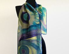 Batik scarf with abstract design . Hand painted summer scarf in blue, violet and yellow . Paint by hand long scarf .