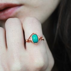 Copper Turquoise Ring Semiprecious ring Turquoise by Minkykitten