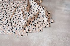 "Colored Wooden Rugs by Elisa Strozyk Photo.   "" G R E Y – B L A C K – B I R C H "", 2011"