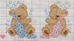 Resultado de imagem para ponto cruz para bebe toalha de banho