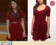Marley's burgundy lace dress on Glee.  Outfit Details: http://wornontv.net/29478/ #Glee