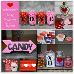 Valentine's Day Sweets Table: Cheap and chic ideas for creating a Valentine's Sweets Table, great for classroom parties or any celebration. #valentinesday #valentinesparty #candytable