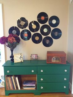 Refinished dresser with storage for vinyl records