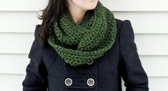 LOVE LOVE LOVE  Crocheted Cowl Scarf in Forest Green by LilBumpkinsBoutique, $25.00