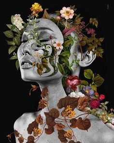 Marcelo Monreal |Digital collage – ArtPeople.Net Collage Portrait, Collage Artwork, Collage Artists, Magazine Collage, Magazine Art, Flower Collage, Flower Art, Natural Form Artists, Natural Forms