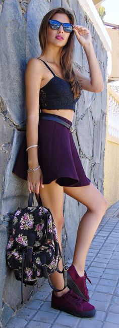 Black And Eggplant Summer Style