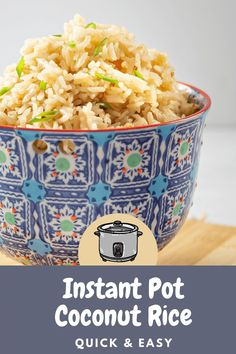 Instant Pot Coconut Rice is a creamy, slightly sweet aromatic Jasmine rice recipe that is quick and easy to make using your electric pressure cooker.
