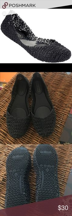 Melissa campana black glitter size 7 Excellent condition truly like new. I wore it only once Melissa campana black glitter.  Sold out at the melissa website. Unfortunately I bought them one size smaller because I thought they run big but turns out they run true to size. My loss your gain. Melissa Shoes Flats & Loafers