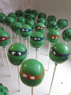 Teenage Mutant Ninja Turtle Cake Pops www.thecakepopbakery.com.au