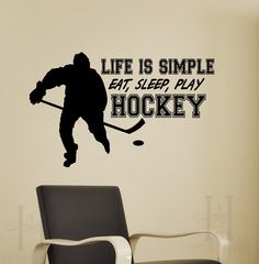 Hockey decor Life is Simple Eat Sleep Play Hockey quote words for Walls, Ice Hockey VInyl wall Sticker graphic, kids rooms on Etsy, $39.00